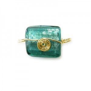 21x20mm (Approx) Teal Silver Foiled Square Gold Wired 20pcs