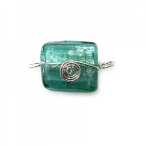 21x20mm (Approx) Teal Silver Foiled Square Silver Wired 20pcs