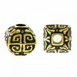 12.5mm Puffed Square Bead Antique Gilt