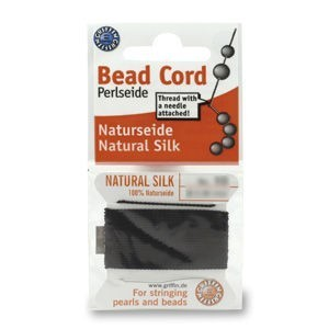 Griffin® Silk Thread Size 05 (.65mm) Black 2-Meter Card with Pre-Attached Needle