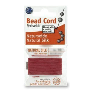 Griffin® Silk Thread Size 08 (.8mm) Garnet 2-Meter Card with Pre-Attached Needle