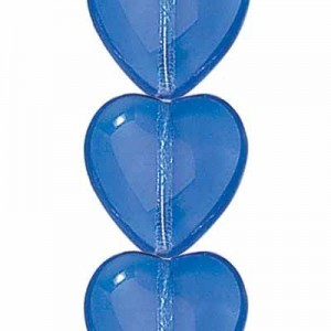 16x15mm Sapphire Transparent Glass Heart Shaped Beads Czech Beads - 7 Inch Strand (Apx 12 Beads)