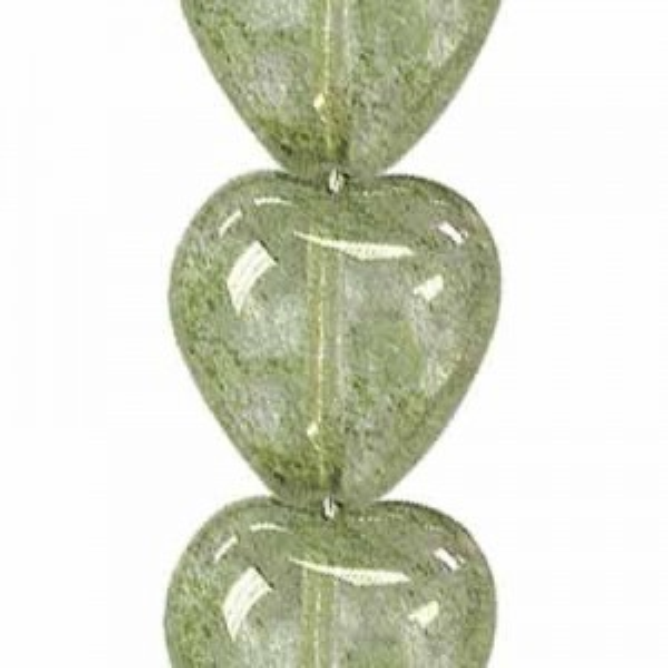 12x11mm Lumi Green Glass Heart Shaped Beads Czech Beads - 7 Inch Strand (Apx 16 Beads)