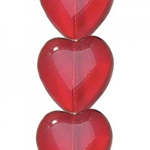 12x11mm Siam Transparent Glass Heart Shaped Beads Czech Beads - 7 Inch Strand (Apx 16 Beads)