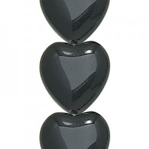 16x15mm Jet Opaque Glass Heart Shaped Beads Czech Beads - 7 Inch Strand (Apx 12 Beads)