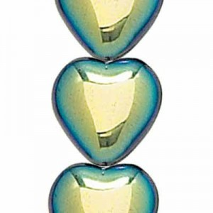 12x11mm Jet AB Opaque Glass Heart Shaped Beads Czech Beads - 7 Inch Strand (Apx 16 Beads)