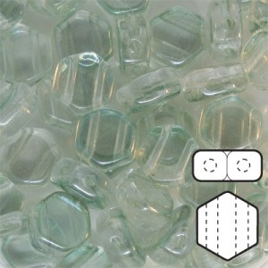 Hexx™ 6mm Czech Glass 2-Hole Hexagon Green Luster