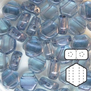 Hexx™ 6mm Czech Glass 2-Hole Hexagon Lumi Blue