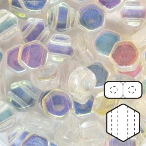 Hexx™ 6mm Czech Glass 2-Hole Hexagon Crystal Ab