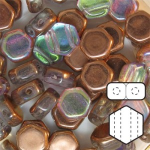 Hexx™ 6mm Czech Glass 2-Hole Hexagon Crystal Copper Rainbow