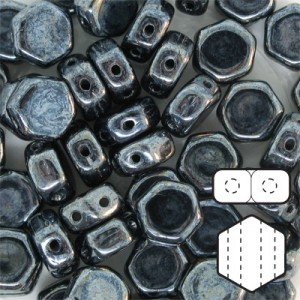 Hexx™ 6mm Czech Glass 2-Hole Hexagon Hematite