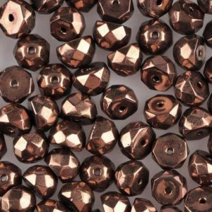 Preciosa® Hill™ 6mm Fire Polished Bead Dark Bronze - 100pc