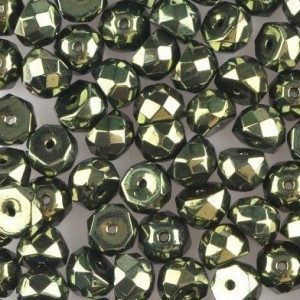Preciosa® Hill™ 6mm Fire Polished Bead Metallic Green - 100pc