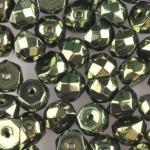 Preciosa® Hill™ 8mm Fire Polished Bead Metallic Green - 50pc