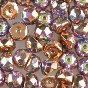 Preciosa® Hill™ 8mm Fire Polished Bead Crystal Glittery Bronze - 50pc