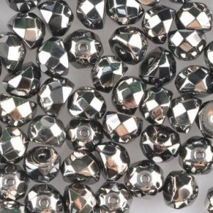 Preciosa® Hill™ 6mm Fire Polished Bead Jet Chrome - 100pc