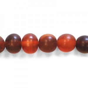 10mm Amber Round Horn Beads 16 Inch Strand (Approx. 40 Beads)