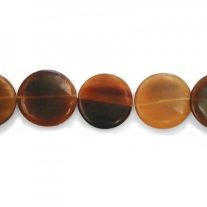 30mm Amber Flat Round Disk Horn Beads 16 Inch Strand (Approx. 13 Beads)