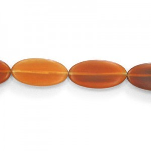 30x15mm Amber Oval Horn Beads 16 Inch Strand (Approx. 13 Beads)