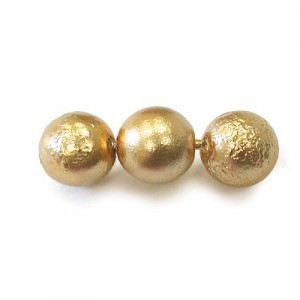 8mm Round Gold Czech Glass Ice Pearl (300pc)