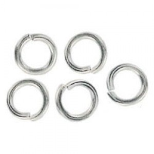 6mm Jump Ring 1mm Wire Silver Plate Lacquered (1000pc)