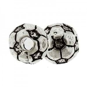 12mm Large Hole Soccer Ball Antique Silver