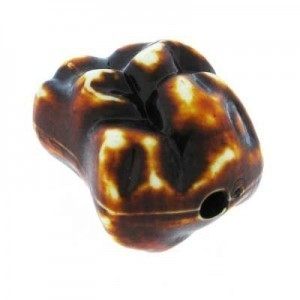 24x18mm Nugget Bead Brown Stonewashed Acrylic Bead