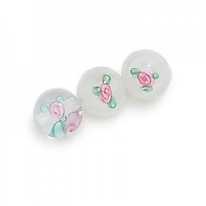 8mm Crystal Round Bead with Inlay Flower (Priced Per Dozen)