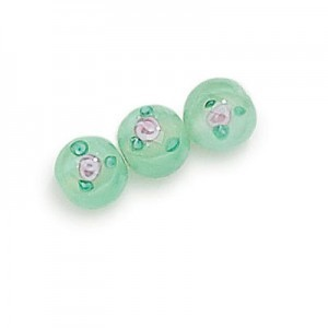 8mm Mint Round Czech Glass Beads with Inlay Flower (Priced Per Dozen)