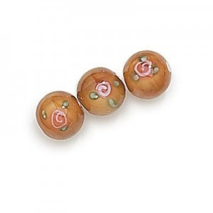 8mm Light Brown Round Czech Glass Beads with Inlay Flower (Priced Per Dozen)