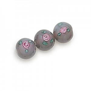6mm Grey Round Czech Glass Beads with Inlay Flower (Priced Per Dozen)