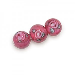 6mm Dark Rose Round Czech Glass Beads with Inlay Flower (Priced Per Dozen)