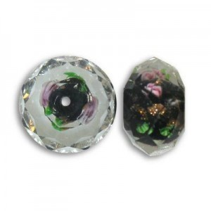 10x14mm Black In-Lay Flower Puffy Rondelle