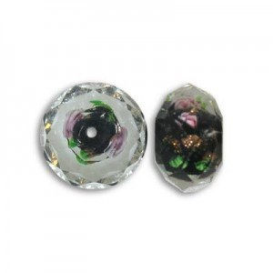 7x10mm Black In-Lay Flower Puffy Rondelle