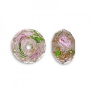 7x10mm Crystal In-Lay Flower Puffy Rondelle