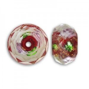 10x14mm Red In-Lay Flower Puffy Rondelle