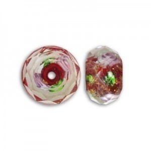 7x10mm Red In-Lay Flower Puffy Rondelle