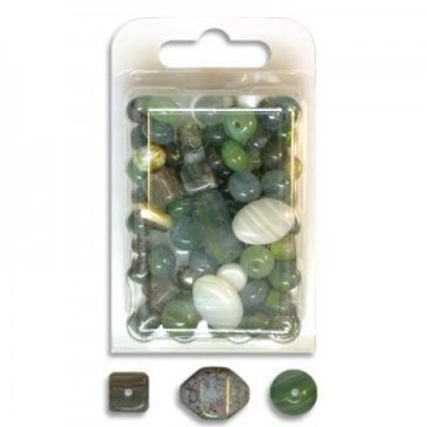 Czech Glass Beads Mix Jade - 60 Gram Blister