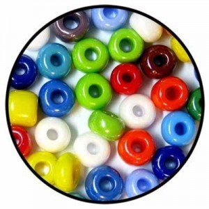 1/0 (Apx 6.5mm) Loose Czech Seed Beads Opaque Lustered Mix - 50 Gram Bag
