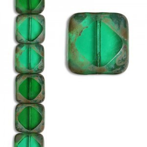 15x15mm Czech Glass Beads Color 50170/43400 - 7 Inch Strand (Apx 11 Beads)