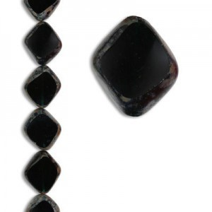 24x20mm Czech Glass Beads Color 50150/43400 - 7 Inch Strand (Apx 8 Beads)