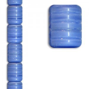 14x12mm Ribbed Barrel Striped Lt Blue Apx 7 Inch Strand / 12 Beads