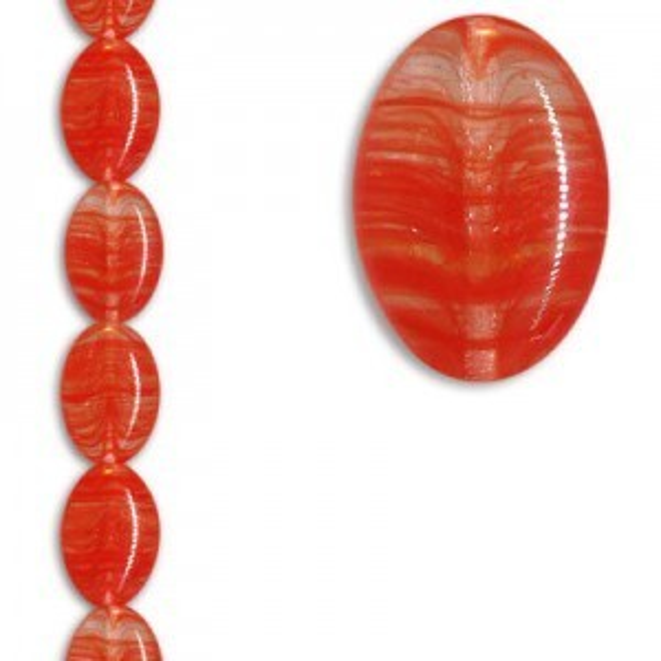 16x11mm Flat Oval Coral Swirl Apx 7 Inch Strand / 11 Czech Glass Beads