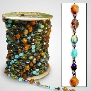 Beadlinx™ Beaded Chain Autumn Forest on Gunmetal