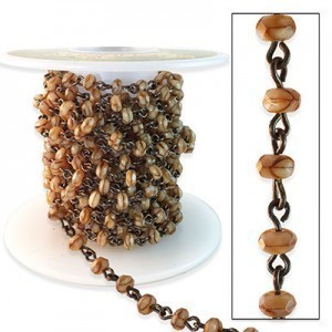 Beadlinx™ Beaded Chain Giraffe Puffy Rondelle 3x5mm on Brass Ox