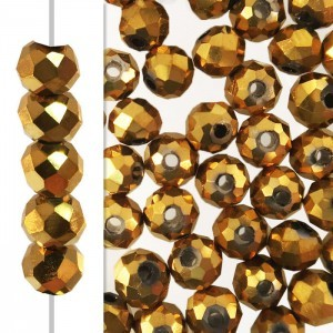 2x3mm Aurum 2x Puffy Rondelles Celebrity Crystals - 50 Beads Strand