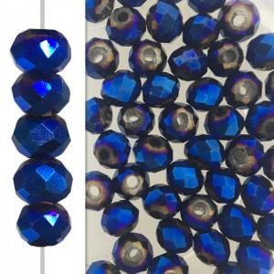 2x3mm Blue Iris Puffy Rondelles Celebrity Crystals - 50 Beads Strand
