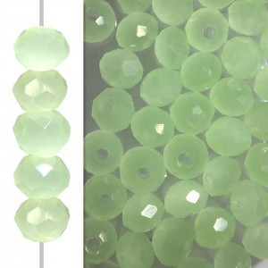 2x3mm Jade Opal Puffy Rondelles Celebrity Crystals - 50 Beads Strand