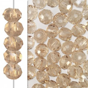 2x3mm Light Colorado Topaz Puffy Rondelles Celebrity Crystals - 50 Beads Strand
