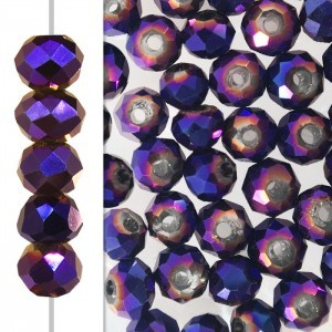 2x3mm Purple Iris Puffy Rondelles Celebrity Crystals - 50 Beads Strand